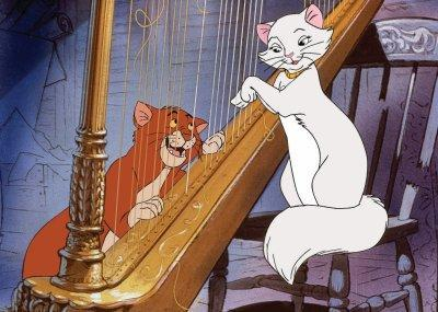 Aristocats playing the harp