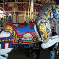 The beautiful horses on Cinderella's Carousel.