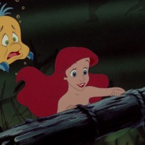Poor Flounder. He can hardly keep up with the adventurous Ariel!