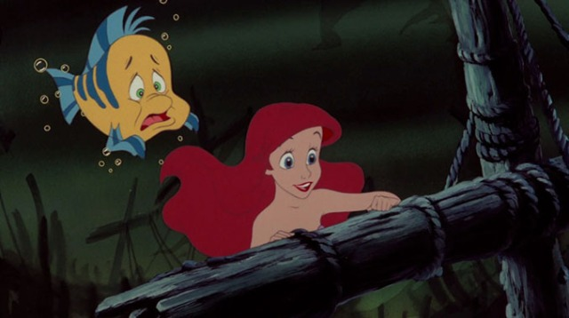 little mermaid and flounder