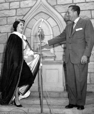 Shirley Temple and Walt Disney at the Ceremonial Opening at Disneyland.