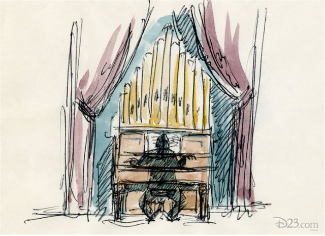 "One of the most recognizable ""happy haunts"" from the Haunted Mansion is its ""house"" organist—seen here in an early sketch."
