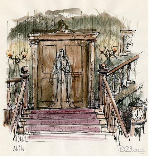 "A ghostly bride has been part of the myth and lore of the Haunted Mansion from very early on in the attraction's development. This ""dreadfully"" colorful sketch helps highlight just that!"