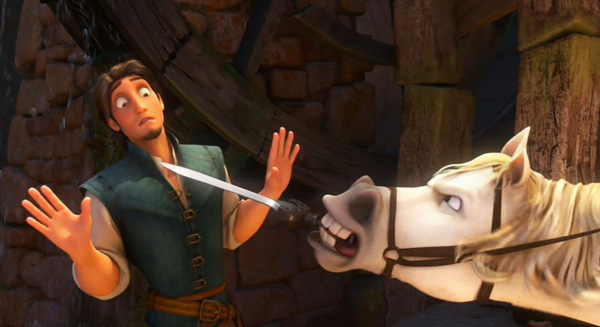 tangled-movie-review-horse-sword-fight-flynn-rider-maximus-zachary-levi